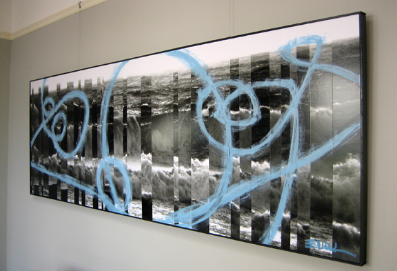 "Unreocgnizable (oblique), Mixed media, 108""x36"""